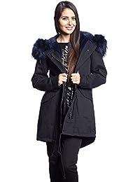 Abbino 2522 Parka Abrigo con Capucha para Mujer - 4 Colores - Verano Otoño Invierno Entretiempo Elegante Casual Fiesta Fashion Vintage Rebajas Larga