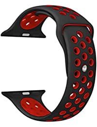 KZKR for Apple Watch Band Series 1 Series 2 Soft Sports Silicone Bracelet Strap Wristband Replacement Watchband iWatch Sport Fitness Band(42MM/Black&Red)