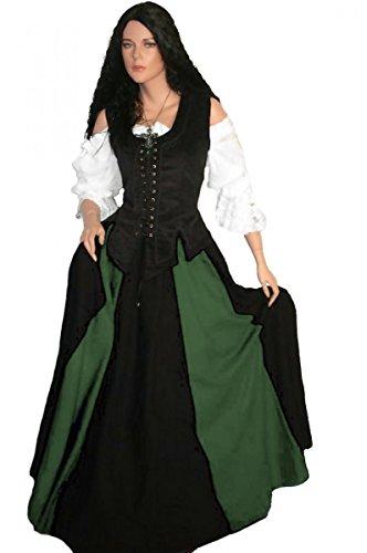 Dark Dreams LARP Mittelalterkleid Mittelalter Gewand Kleid Mieder Rock Bluse Brighid 36 38 40 42 44 46, Farbe:schwarz/grün, Größe:S -