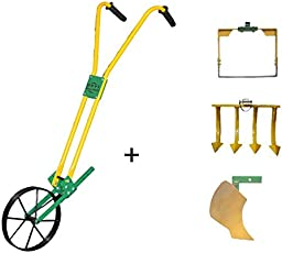 """Urvi Agrotech Manual Wheel Hoe with 12"""" Weeder + 4 Tooth Tine + Curvilinear Plough attachment (HTWA101-12)"""