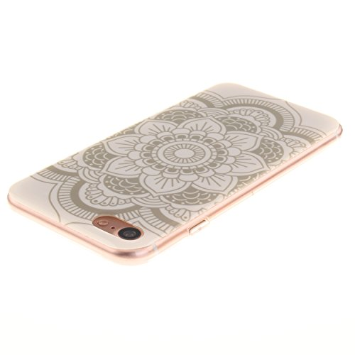 Cozy Hut ® Apple iPhone 7 Hülle | Premium iPhone 7 Cover | Tasche | Crystal – Clear | Etui | Silikon | Case | Schutz-Hülle | Bumper | transparente Weicheplastik Rückschale | flexible TPU Bumper - Wolf Blumen Chiba