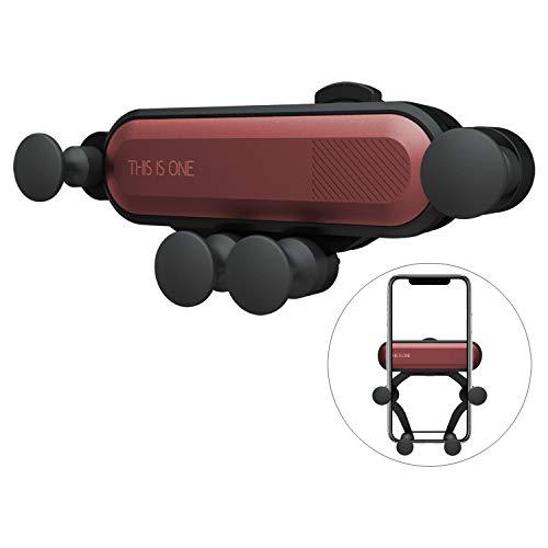 Universal Auto Handyhalterung, Wafly Mini 360 Grad Handyhalter Auto Vent Halterung mit Arm Schwerkraft Kfz Lüftung Halterung für iPhone X/XS/XR/XS Max/7 Plus/8,Samsung S9/S8,Huawei-Rot