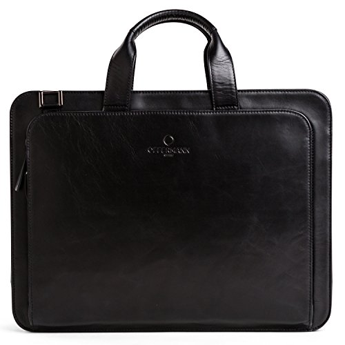 OFFERMANN Ledertasche Businesstasche Workbag 2 Handles als Umhängetasche for Men inklusive 15 Zoll Laptopfach 8 Liter schwarz Carbon Black
