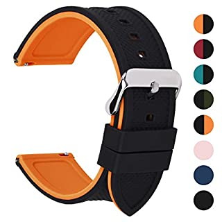 Fullmosa Quick Release Silicone Rubber 22mm Watch Strap, 8 Colors Rainbow Soft Rubber Watch Band 18mm 20mm 22mm 24mm, 22mm Black Top/Pumpkin Orange Bottom