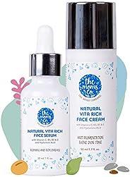 The Moms Co. Natural Vitamin C Face Cream (50 ml) & Face Serum (30 ml) for Brightening, Repair & Reple