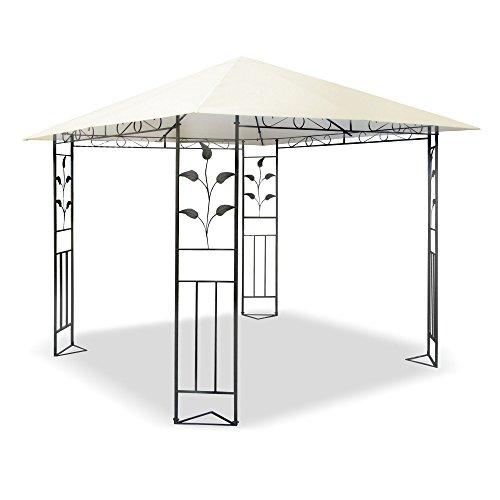 JOM Metall Pavillon 3 x 3 m mit Schmiedeeisen-Ornamenten, anthrazit-grau pulverbeschichtet, Dach in Cremeton, Polyester 180 GR