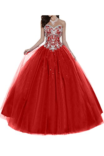 Gorgeous Bride Elegant Herzform Lang A-Linie Ballon Tuell Satin Abendkleider Festkleid Ballkleid -38...