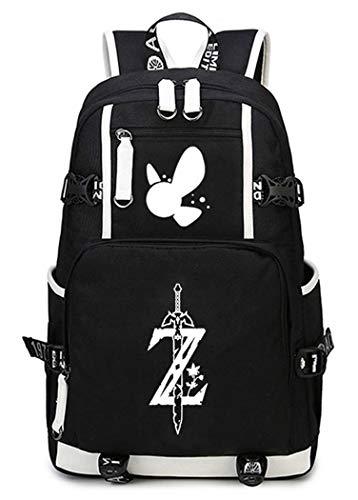 Cosstars The Legend of Zelda Spiel Leuchtend Backpack Schüler Schultasche Laptop Rucksäcke Freizeittasche Daypack Schwarz/Leuchtend-1