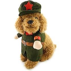 ranphy pequeño perro ropa para hembra macho perro militar chaqueta de disfraz con sombrero perchero de pared de soldado