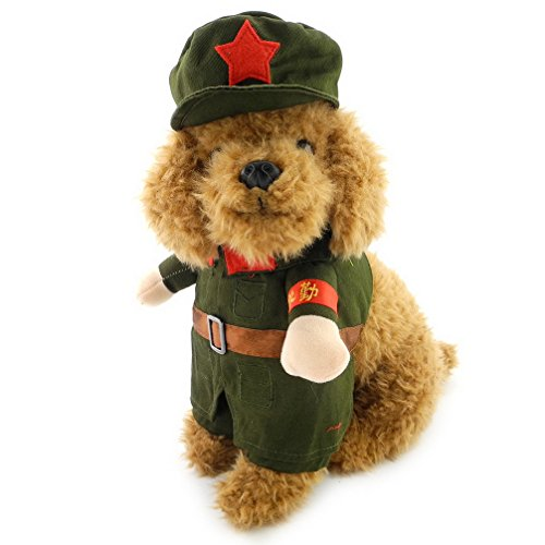 ranphy Kleiner Hund Kleidung für weiblich Stecker Hund Kostüm Military Coat mit Hut Soldier Coat (Halloween Weibliche Kostüme Ideen)