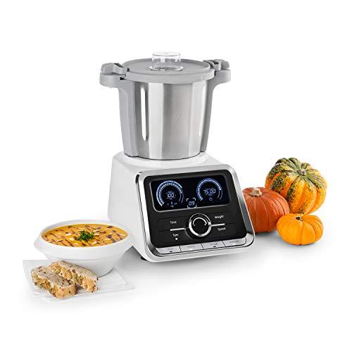Klarstein GrandPrix • Robot de cocina • Batidora • Maquina de amasar • 500-1000W • Recipiente de acero inoxidable • 2,5L • Temperatura ajustable entre 30 y 120ºC • 12 velocidades • Acero/Blanco