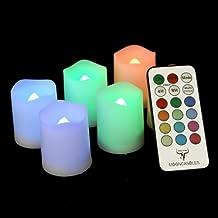 Frostfire Candele lunari - 6 candele votive cambiacolore da interni ed esterni con telecomando a timer