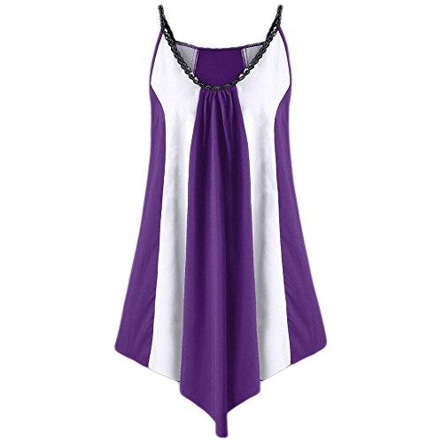 iYmitz Mode Womens Cool Pailletten Farbe Lässig Plus Size Ärmelloses Zweifarbiges Patchwork Kleid(Violett,EU-52/CN-5XL