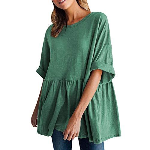 dhals Kurzarm Loose Cotton Top(XX-Large,Grün) ()