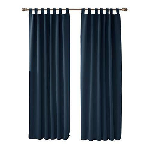 Deconovo tende oscuranti termiche isolanti con passanti 140x245cm blu navy una coppia