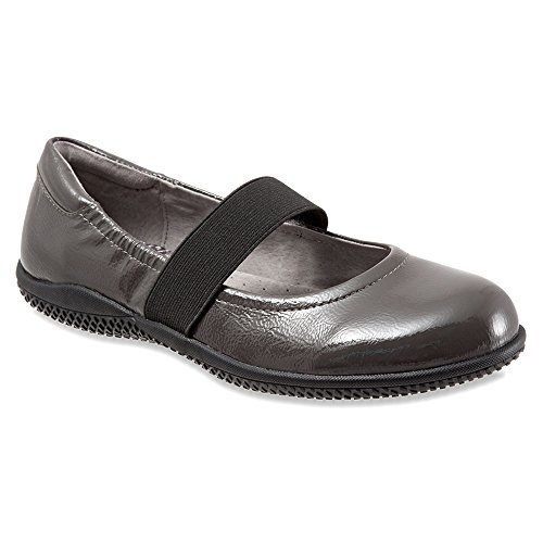 SoftWalk Women's High Point Dark Grey Crinkle Patent Leather 8.5 S Crinkle Patent Mary Janes