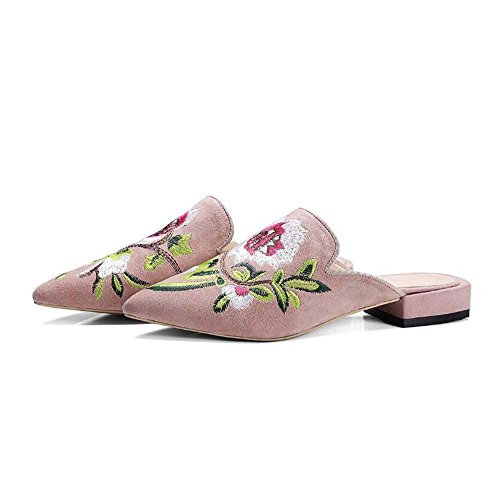 Chinesische Gestickte Tasche (Onfly Mode Dame Spitze Niedrige Ferse Chinesischer Stil Gestickt Hausschuhe Müller Schuhe , pink , 35)