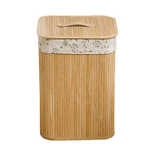 Opfury Cesto para La Ropa de Bambú Cesto Doble con Asas de Tapa y Forro Extraíble Ropa Sucia Contenedor de Almacenamiento de Cajas Rectangular