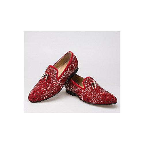 Herren Wildlederschuhe mit Gold Quaste und Kristall Hochzeit Müßiggänger Flach Loafers Rot