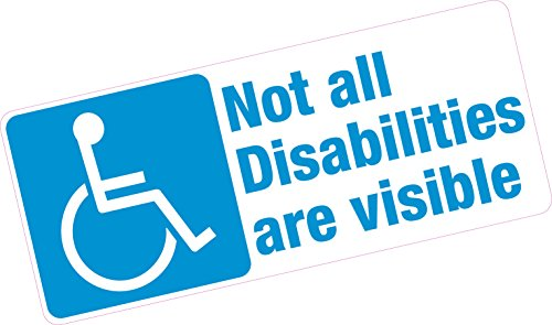 Platinum Place 1 x Not All Disabilities Are Visible-ROUND-White onto Clear-Van,Truck,Bus,Disabled Window Sticker-Sign,Car,Badge,Blue,Holder,Warning,Notice,Driver,Passenger,Vehicle,Taxi,Cab,Mini