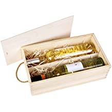 Caja de botellas de vino de madera clara para 2 botellas.
