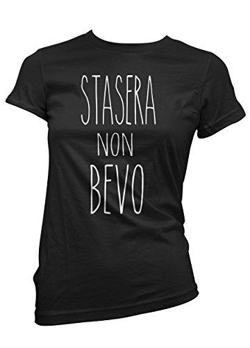 """T-shirt Donna """"Stasera non bevo"""" - maglietta ironic 100% cotone LaMAGLIERIA,L,Nero"""