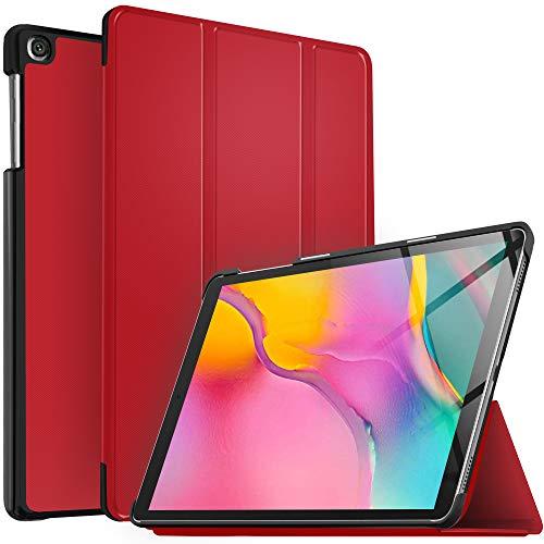 IVSO Hülle für Samsung Galaxy Tab A T515/T510 10.1 2019, Ultra Schlank Slim Schutzhülle Hochwertiges PU mit Standfunktion Ideal Geeignet für Samsung Galaxy Tab A 2019 T515/T510 10.1 Zoll, Rot