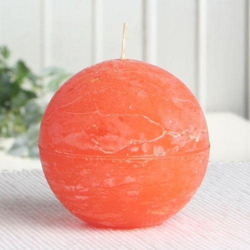 Rustik-Kugelkerze, 8 cm Ø, mandarin-orange
