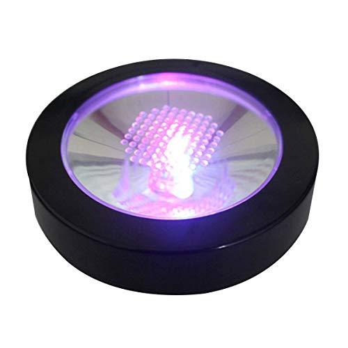 Uonlytech LED RGB Basis Licht USB Ladebasis Licht Batteriebetriebene LED Coaster für Home Plant Garden Party Hochzeit Dekoration Keine Batterie Enthalten (Schwarz)