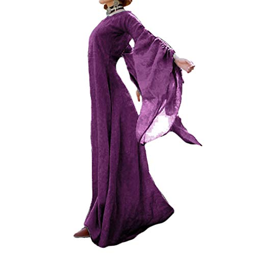 Damen Mittelalter Langarm Kleid - Retro Renaissance Viktorianisch Kostüm Langes Kleider mit Ausgestellte Ärmel für Halloween Party Cosplay S-5XL