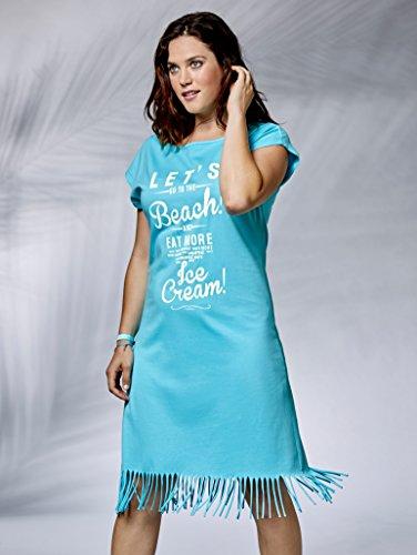 Damen Strandshirt Single Jersey mit Fransenabschluss by Maritim Türkis
