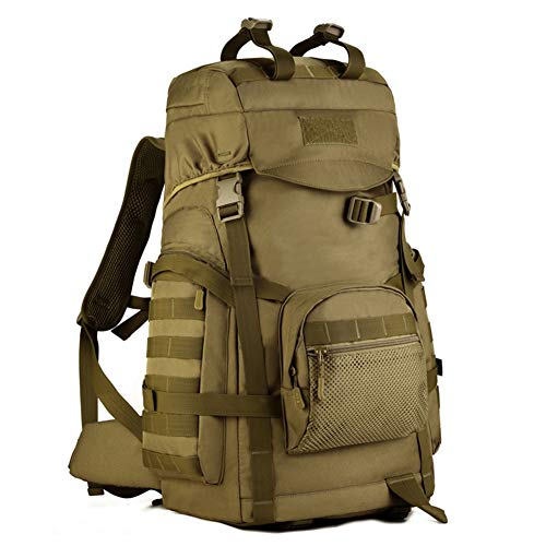 Huntvp 60L Tactical Hiking Backpack Military Molle Assault Large Waterproof Rucksack Outdoors Gear for Hunting Camping Trekking Brown