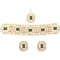 """NEW! Touchstone""""Contemporary Kundan Collection"""" Indian Bollywood Desire Mughal Dramatic Kundan Look Natural Faux Emerald Pearls Jewelry Choker In Antique Gold Tone For Women"""