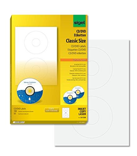 Sigel LA526 CD-/DVD-Etiketten weiß,  blickdicht, 100 Etiketten = 50 Blatt, mit Zentrierhilfe, ClassicSize 41 mm Innenloch