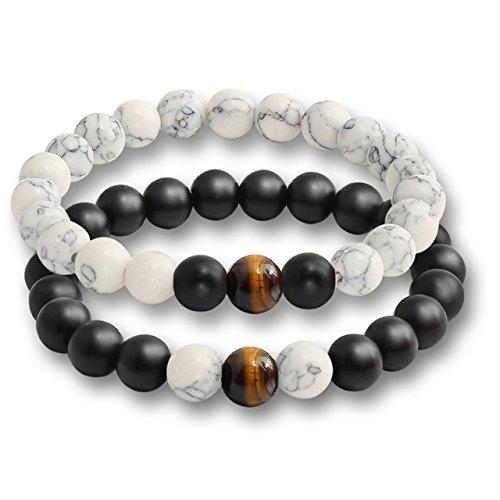 Kaffeebohnen aus echten natürlichen Onyx Schwarz matt und Perlen Auge des Tigers Kaffeebohnen aus Halbedelsteinen Armband Yoga Armband für Männer und Frauen Geschenke (17.5cm)