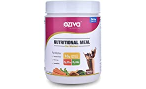 OZiva Nutritional Meal Shake, Women, High Protein Meal Replacement Shake with Ayurvedic Herbs (Chocolate,16 Servings)