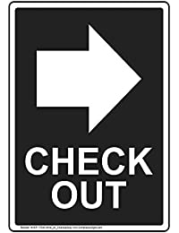 ComplianceSigns Vertical Plastic Check Out Sign, 10 X 7 in. with English Text and Symbol, White on Charcoal Gray