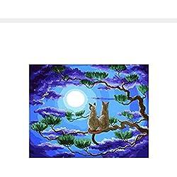 Pintura Por Números Gatos Amor Bajo La Luna Dibujo Sobre Lienzo Decoración Para El Hogar Digital Para Sala De Estar Diy Sin Marco 40X50 Cm Regalo