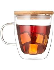 Cooko Cristal Vidrio de Café de Doble Pared, Tazas de Café Resistentes al Calor, Alta Tazas Borosilicato con Mango Para Té, Latte, Leche, Cappuccino, Jugo,400ml Juego de 1