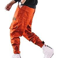 Hombres Hip Hop Bolsillos Múltiples Pantalones, Camuflaje con Estampado Pantalones Harem Pantalones De Trabajo De Color Puro Pantalones para Pies Pequeños Cintura Media