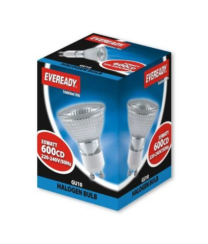 Eveready GU10 35W HALOGEN LAMP SPOT LIGHT BULBS 10 PACK (Packaging may vary)