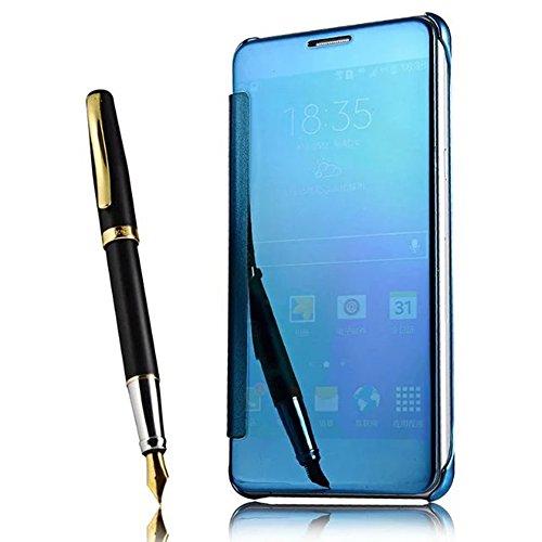 Shinetop Plating Spiegel Hülle Case für Samsung Galaxy Note 4 Clear View Flip Schutzhülle Cover Ultra Dünn Durchsichtig PC Hart Zurück Handyhülle Rutschfeste Kratzfeste Handy Tasche Schale Etui - Blau - Case Samsung Note4 Bling