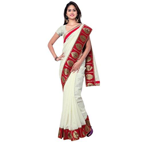 Sarvagny Clothing White Banarasi Silk Fashion Saree