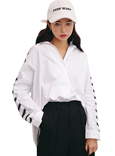 Azbro Women's Loose Fit High Low Stripe Blouse white