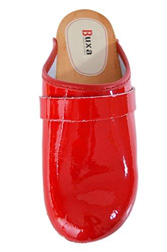 Buxa Bois et Cuir Vernis Sabots Femme, plain conception Rouge (Vernis)