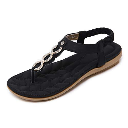 SANMIO Damen Sandals, Frauen Sandalen Sommer Bohemian Strass Flach Sandaletten PU Leder Zehentrenner Beige 37, Schwarz, 44 EU