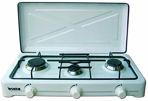 Wurko 027032 Cocina gas 3 fuegos, Blanco esmaltado