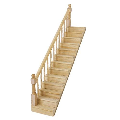 NiceButy 1: 12Puppenhaus-pre-assembled Staircase Stair aus Holz Stringer für-Schritt-links Handrail (Stair Stringer)