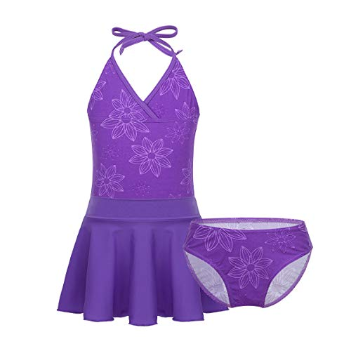 iiniim Mädchen Tankini Bikini Badeset Bikini Top+Bikinislip+Rock Bademode Badeanzug Kinder Schwimmanzug Badebekleidung Gr.110-164 Lila 152-164/12-14Jahre