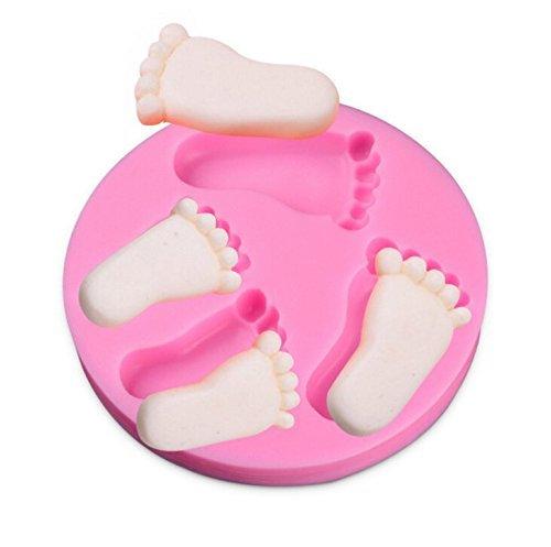 Silikonform für Kuchendekorationen, in Form von Babyfüßen, Pink - Silikonform Füße